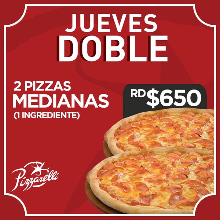 2 Pizzas Medianas (1 Ingrediente)