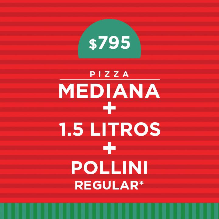 1 Pizza Mediana más 1.5 litros más pollini regular
