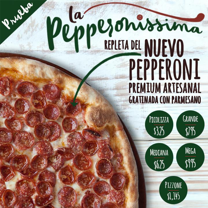 Nueva pizza repleta del nuevo pepperoni premium artesanal gratinada con queso parmesano.